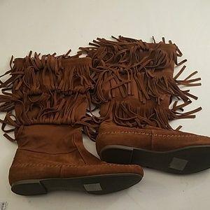 LC Lauren Conrad fringed suede boots Sz 8